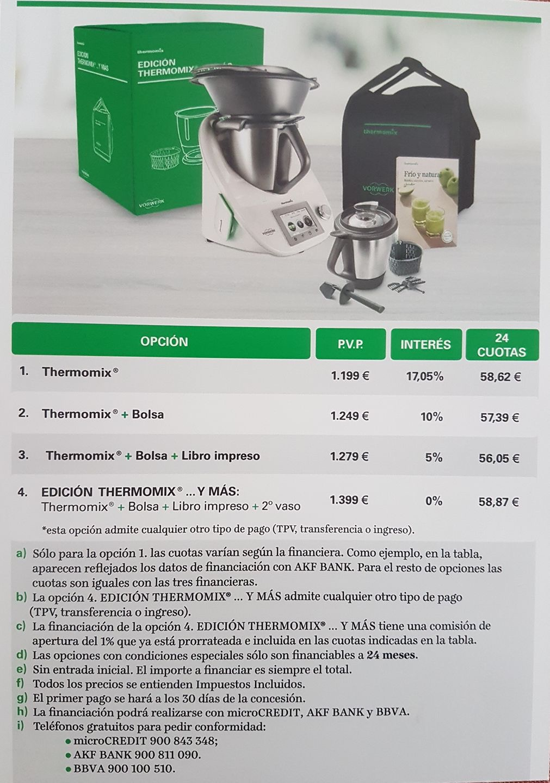 Nueva edición : 'Thermomix® Y MAS...' Diferentes y atractivas opciones, incluso para poder financiarla con 0% intereses