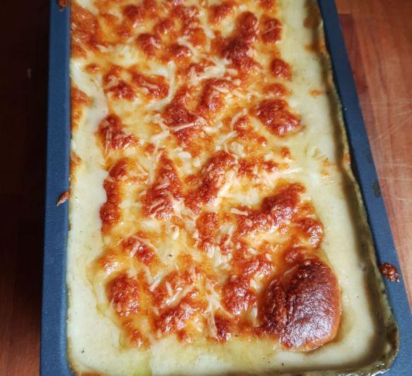 Lasaña de calabacin, champiñones y queso de cabra