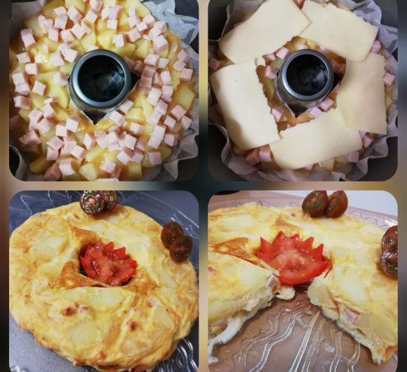 Tortilla de patatas con pavo y queso
