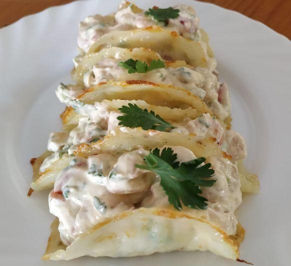 Tacos keto rellenos de gambas, con Thermomix®