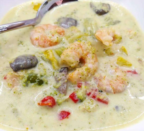 Curry rápido de verduras y gambas, con Thermomix®