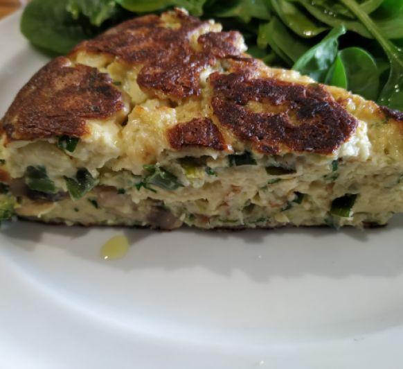 Frittata ''keto'' con champiñones y queso cremoso, con Thermomix®
