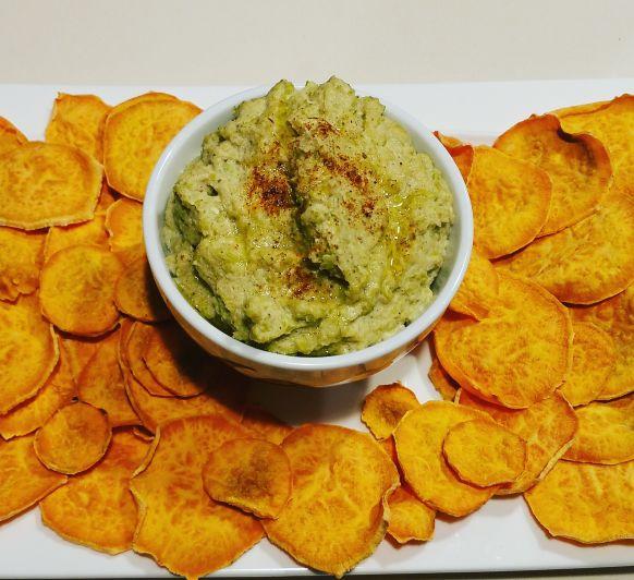 Chips de boniato con paté de calabacín, con Thermomix®