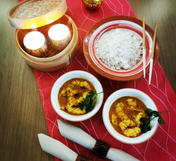 Curry de Langostinos con arroz Basmati