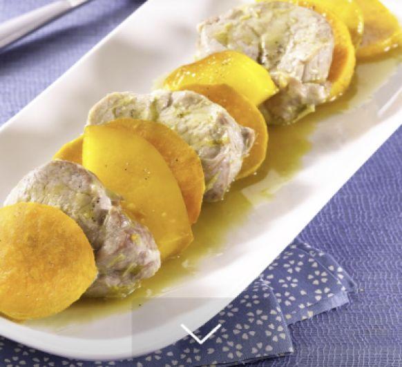 Solomillo de cerdo con batata de Málaga (O boniato) y mango